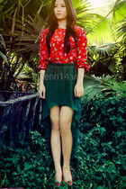 forest green skirt - red blouse