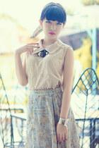 beige classic collar blouse - lime green skirt - bracelet