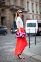 white t-shirt - magenta bag - red skirt - dark gray sandals