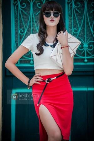 hot pink skirt - white bag - white top - black belt