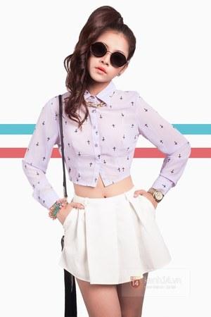 periwinkle shirt - black sunglasses - white skirt