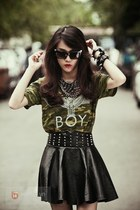 black sunglasses - army green shirt - black skirt