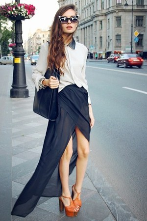 dark gray chiffon skirt - black sunglasses - tawny heels - white chiffon blouse