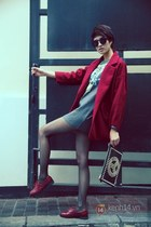 ruby red blazer - brick red shoes - heather gray shirt