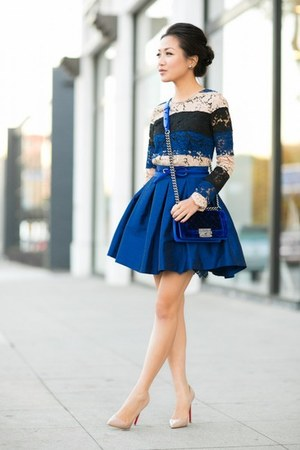 blue skirt - navy bag - neutral heels