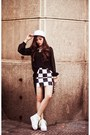 White-shoes-white-hat-black-skirt-black-blouse