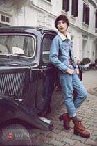 sky blue jeans - brown boots - sky blue jacket