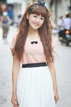 light pink blouse - white skirt