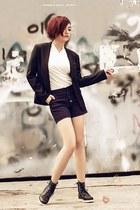 black boots - black blazer - white shirt - purple shorts