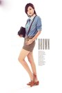 Brown-shorts-sky-blue-denim-blouse-burnt-orange-oxfords-loafers