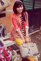 salmon blazer - polka dots scarf - beige bag - socks - gold floral pants