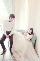 ivory wedding dress - white vest