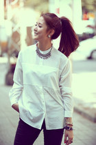 necklace - white shirt - bracelet - black pants
