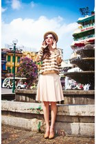 beige hat - dark brown blouse - eggshell skirt
