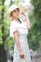 eggshell hat - lime green long skirt skirt - white blouse