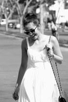 black bag - white dress - black sunglasses