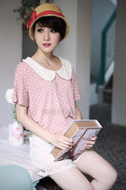 bubble gum blouse - hat - white lace up skirt