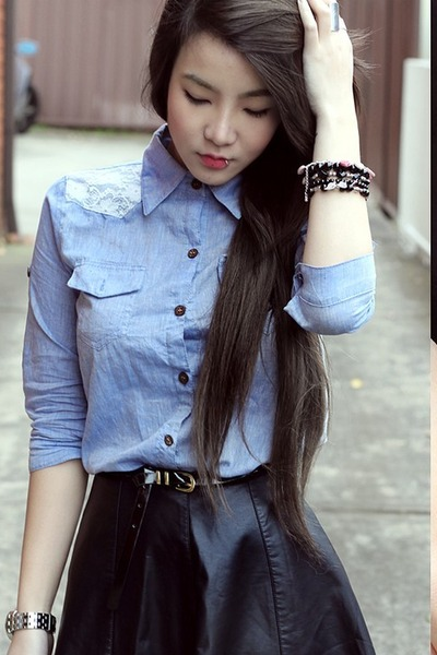 1b3b8fd4b8 Light Blue Denim Shirt Shirts, Black Skirts, Bracelets |