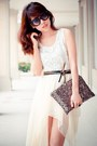 White-chiffon-skirt-clutch-metallic-bag-black-sunglasses-black-heels