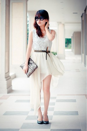 white chiffon skirt - clutch metallic bag - black sunglasses - black heels