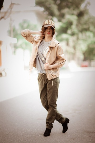 neutral coat - tan cap hat - olive green pants