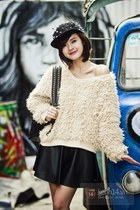 black hat - ivory blouse - dark gray skirt