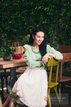 lime green sweater - ivory skirt