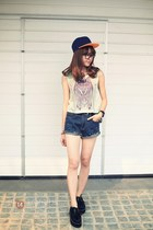 cream top - black shoes - navy shorts