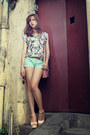 Pink-bag-light-blue-shorts-bubble-gum-floral-print-top-dark-brown-belt