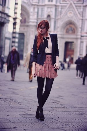 pink sequined skirt - navy blazer - dark gray tights - white blouse