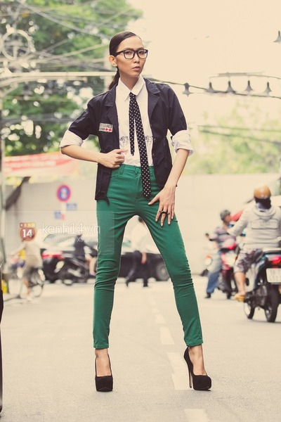 Black Heels, White Shirts, Dark Green Pants, Black Vests, Black ...