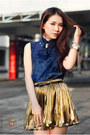 Blue-top-gold-skirt