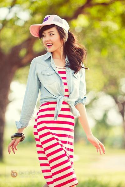 red dress - light blue shirt