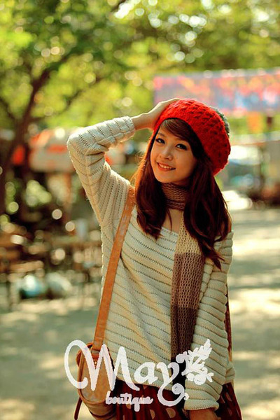 red beanie hat - off white sweater - scarf - bag - brick red polka dots skirt