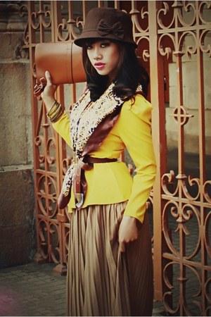 dark brown classic hat - yellow blazer - leopard print scarf - bronze clutch bag