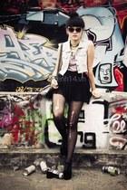 black shoes - beige coat - dark gray tights - dark brown sunglasses