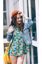 tawny hat - green dress - periwinkle jeans - yellow bag