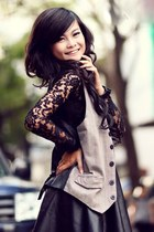 black lace top top - shoes - high waisted blazer - black skirt