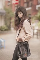 dark gray bag - black pants - beige blouse