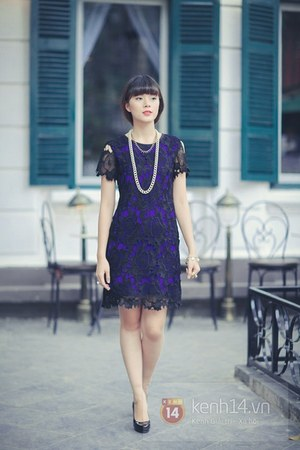 black shoes - deep purple dress