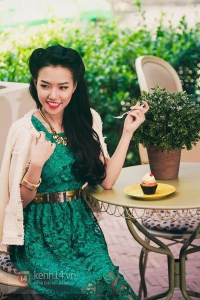 green dress - eggshell cardigan