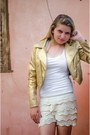 Golden-jacket-white-shirt-lace-shorts