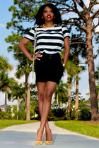 black pleated Charlotte Russe shorts - white striped thrifted blouse