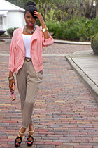 peach Urban Outfitters jacket - camel pleated front Forever 21 pants
