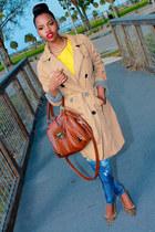 dark khaki khaki Target coat - blue denim Bebe jeans - yellow thrifted top