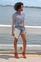white stripes top - navy sailor Juicy Couture shorts