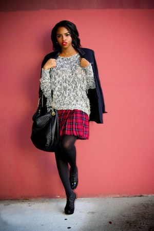 ruby red plaid skirt - gray open knit Forever 21 sweater