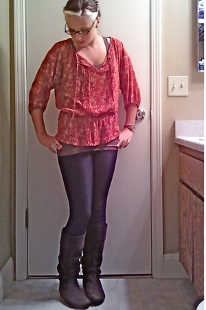 mossimo supply co blouse - hollister shirt - Max Azria leggings - Wet Seal boots