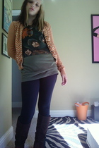 isaac mizrahi sweater - The Beatles shirt - Wet Seal leggings - Goodwill glasses