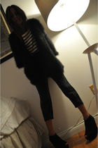 black Alexander Wang sweater - white Chloe shirt - gray Joie pants - black Topsh